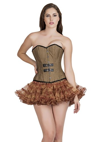 関連付けるウォーターフロント細心のBrown Poly Cotton Lining Black Leather Piping Goth Burlesque Overbust Corset Top