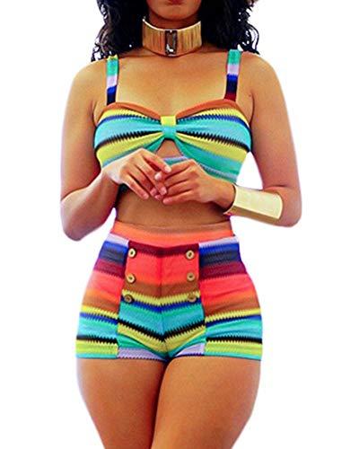 SCORP Women Two Piece Bikini Set Front Keyhole Cami Tankini Top with Boyshort Swimsuit Bathing Suit Multicolor Large