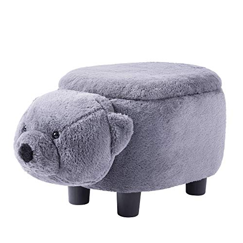 HELLOLAND Have-Fun Stool Series Upholstered Ride-on Storage Ottoman Footrest Stool with Vivid Adorable Animal Shape (Grizzly -