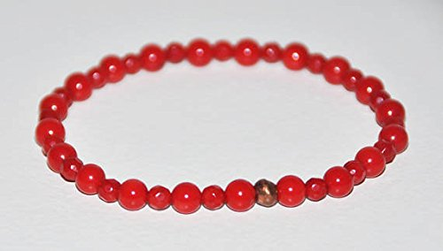 Red Coral Elastic Bracelet, Healing Copper, Gemstone Stacking Bracelet, Beaded, Calming, Protection, Happiness, Love, Balance, Jewelry, Gift (Copper Coral Bracelet)