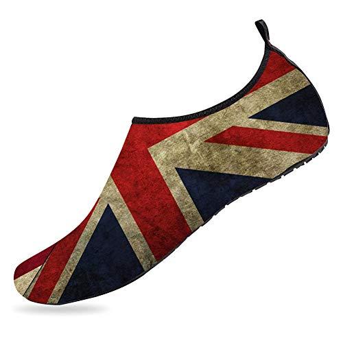(Quick-Dry Aqua Socks Barefoot Water Sports Shoes for Women Men union jack and american flag Swim Barefoot Beach Yoga Shoes)