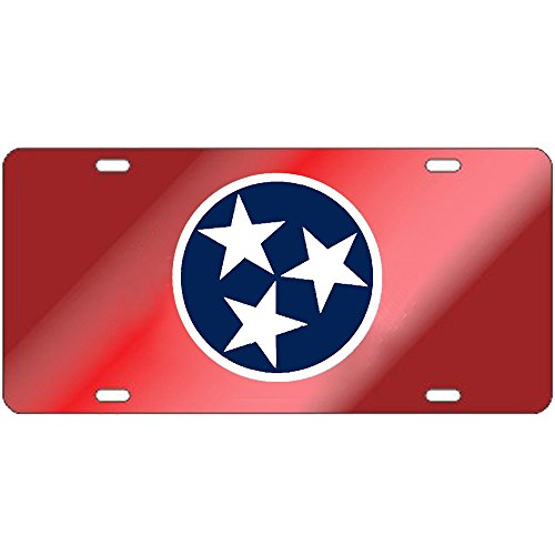 Tennessee Volunteers Red Tri-Star Laser Cut License Plate