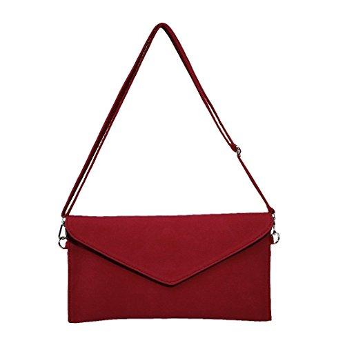 Handbag Suede Clutch Bag Women's Red Crossbody Jieway Bag Evening Shoulder Faux SBFqwqzxWA