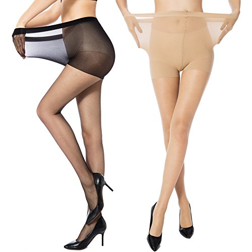 MANZI Women's 2 Pairs Plus Size Control Top Ultra-Soft Tights Size XXXL