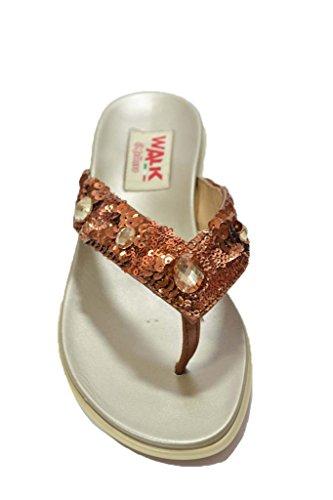Melluso Ciabatte infradito bronzo sandali scarpe donna R8616