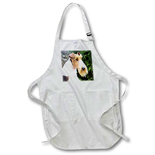 3dRose apr_467_1 22 by 30-Inch Fox Terrier Apron with Pockets, Full, White