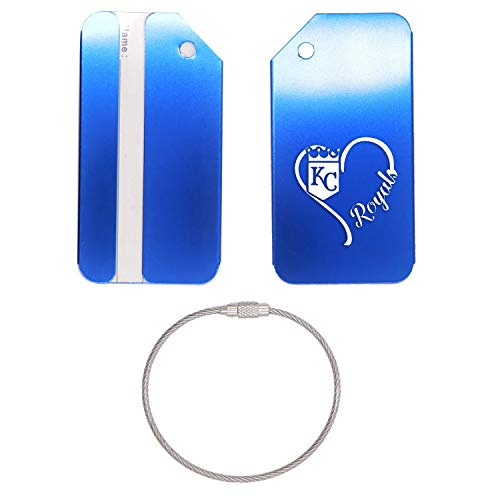 (MLB Kansas City Royals Heart Logo STAINLESS STEEL - ENGRAVED LUGGAGE TAG - SET OF 2 (ROYAL BLUE) - FOR ANY TYPE OF LUGGAGE, SUITCASES, GYM BAGS, BRIEFCASES, GOLF BAGS)