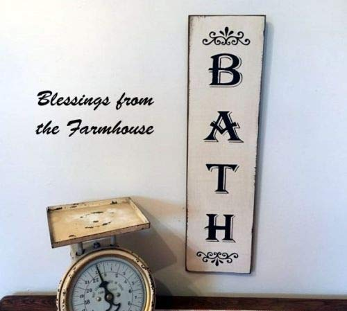 Vertical Bath Farmhouse Fixer Upper Style Wooden Sign Wall Decor Garden Signs and Plaques from Ballkleid