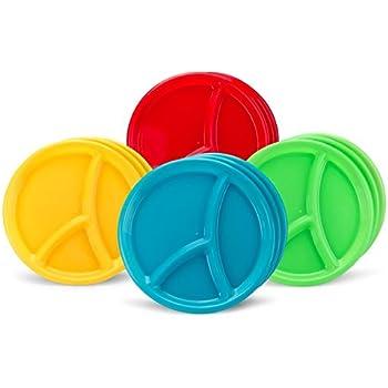 10  Reusable Divided Plastic Plates 3 Compartment - Set ...  sc 1 st  Amazon.com & Amazon.com | 10