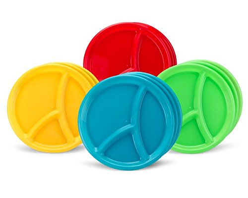 10'' Reusable Divided Plastic Plates 3 Compartment - Set Of 12