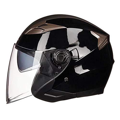 Qazwsx Casco De Moto Airoh Doble Lente Casco De Protección De Seguridad Cascos De Moto De Media Cara Hechos De ABS Y Visor...