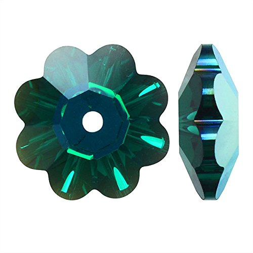 - Swarovski Crystal, 3700 Flower Margarita Beads 12mm, 4 Pieces, Emerald AB