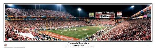 Ohio State Buckeyes 2002 National Championsフィエスタボウル – NCAAコラージュFootballパノラマポスター# 5012  15.5x41 Matted & 黒 Wood Framed Poster