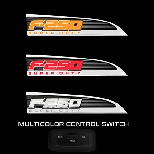 11-16 Ford F250 Illuminated Emblems 2-Piece Kit Includes Driver & Passenger Side Fender Emblems in Chrome - F250 in 3 COLOR ()