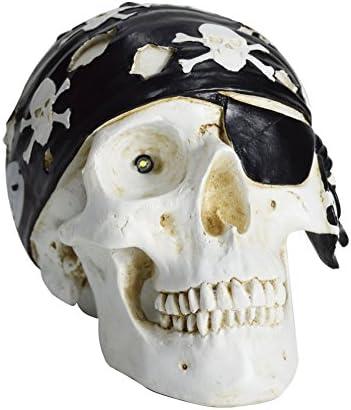 HOMESHINE Halloween Decor Wireless Life Size Pirate Skull Bluetooth Speaker with Night Light