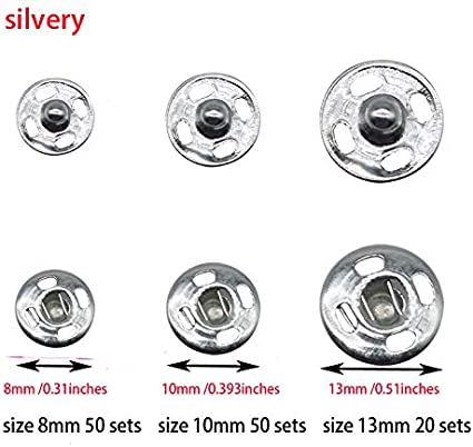 E-Uli 100 Sets 8mm Sew on Snap Buttons Metal Snap Fastener Buttons Press Button for Sewing Clothing Silvery and Black 8mm-100sets