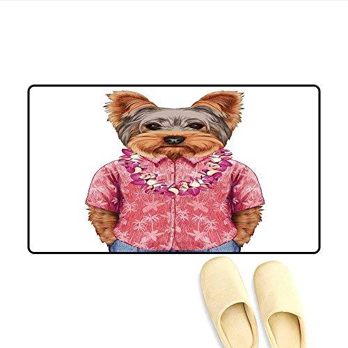 Doormat Portrait of a Dog in Humanoid Form with a Pink Shirt with Hawaian Lei Fun Image Floor Mat Bath Mat for Tub Multicolor 20