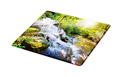 Lunarable Waterfall Cutting Board, Majestic Waterfall in Pleasant Hill Kentucky USA Heavenly Stairs and Sun, Decorative Tempered Glass Cutting and Serving Board, Small Size, Green and White