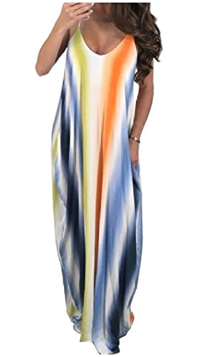 Splice Maxi Spaghetti Beachwear Back Color Coolred Blue Ombre Strap Contrast Dress Baggy Out Sleeveless Women Sexy Cut CqRCXxw6