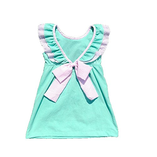 MONOBLANKS Girls Dress Backless Sash Bow Cotton Summer Skirt Can be Personalized Or Monogrammed (2/3t, Mint)
