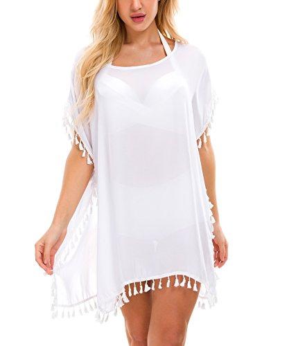 Tandisk Women's Stylish Chiffon Tassel Beachwear Bikini Swimsuit Cover up White ()
