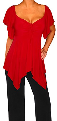 Funfash Plus Size Women Slimming Empire Waist A Line Top Blouse Shirt Made USA,Apple Red,size 16