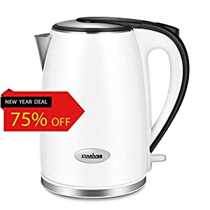 Stariver Electric Tea Kettle Stainless Steel Double Wall with 2.0 Liter Capacity - Package Include Egg Separator Worth 3.49 USD(Random Giveaway) - Version Upgraded