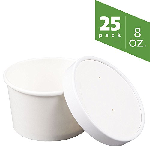 8 oz. Double-Wall Poly White Paper Containers with Vented Lids [25 Sets]