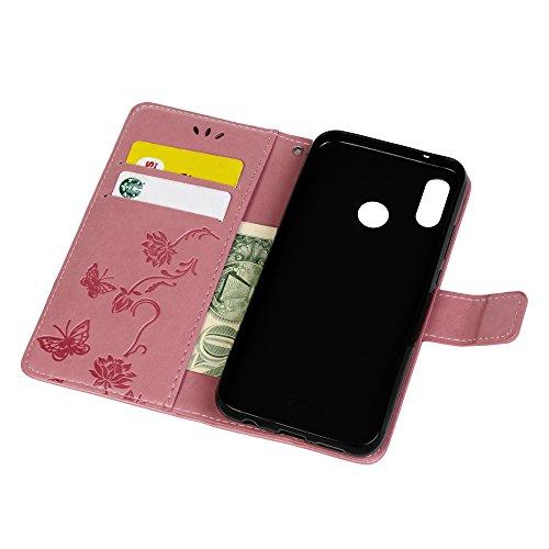 Huawei P20Lite Schutzhülle, PU Leder Flip Notebook Wallet geprägt Lotus Schmetterling mit Ständer Karte Halterung ID Slot Folio Soft TPU Bumper Schutz Skin Schutzhülle für Huawei P20Lite rose rose