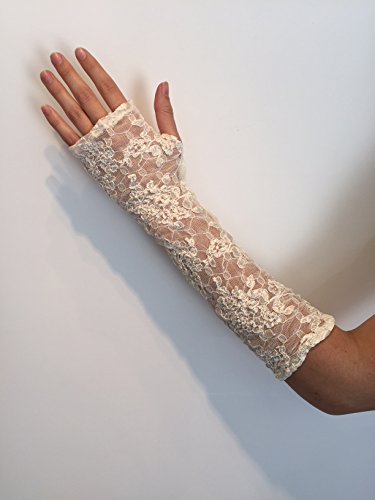 Long Ivory Stretch Lace Fingerless Gloves. One Size Fits All. Bridal.