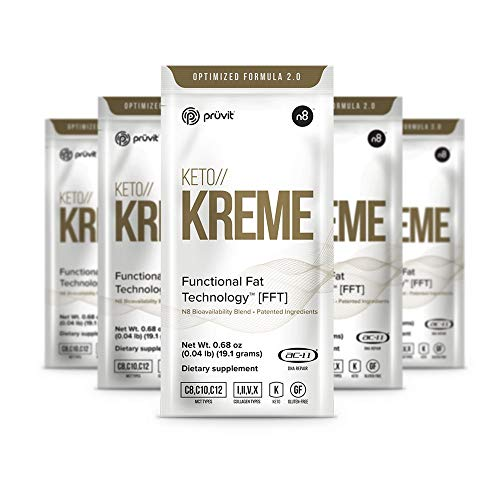 KETO//KREME 2.0 with Functional Fat Technology FFT, MCT Oils for Brain Boost, Reduce Joint Pain and Inflammation, Improve Digestive and Gut Health, Kickstart Natural Collagen Production, 20 Sachets