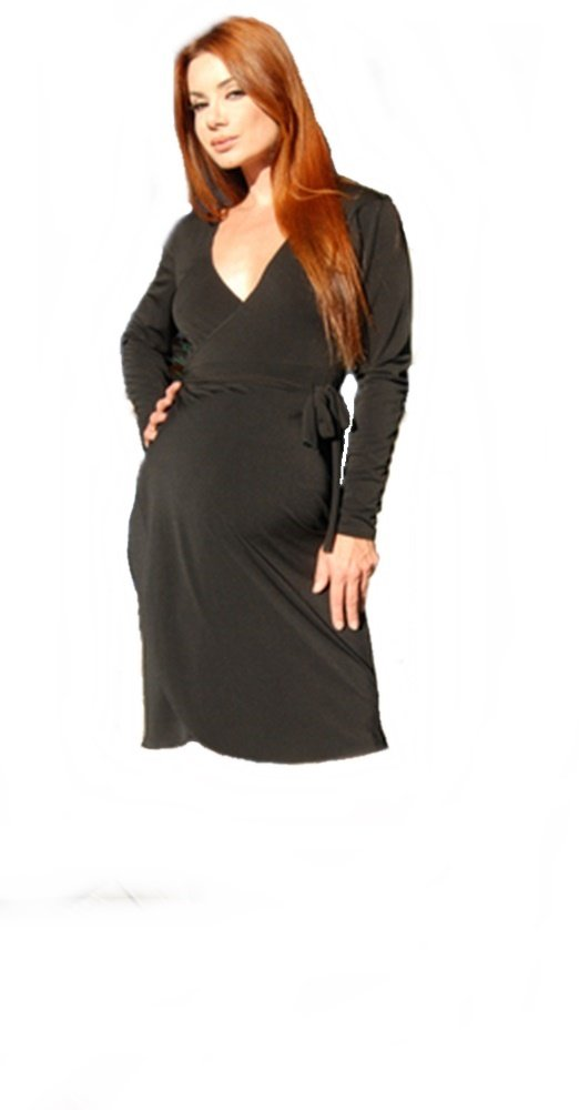 Nicole Michelle Maternity Wrap Dress, Black, X-Large by Nicole Michelle Maternity