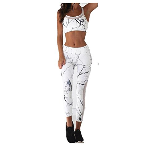 Price comparison product image Fheaven 2Pcs Tracksuit Women Tank Tops Pants Sets Yoga Running Sport Casual Suit (XL, White)