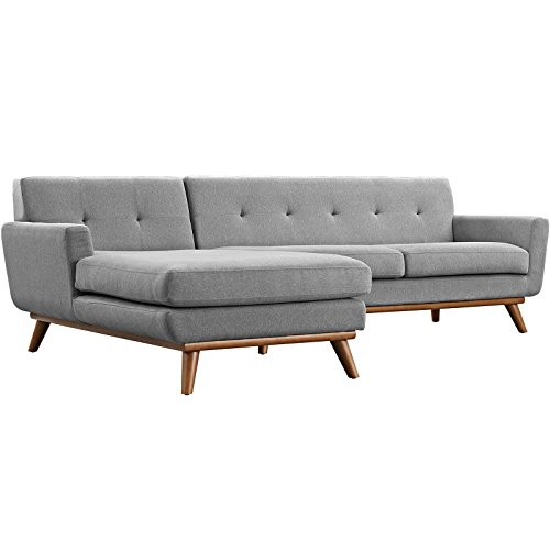 Modern Contemporary Left-Facing Sectional Sofa, Grey, Fabric