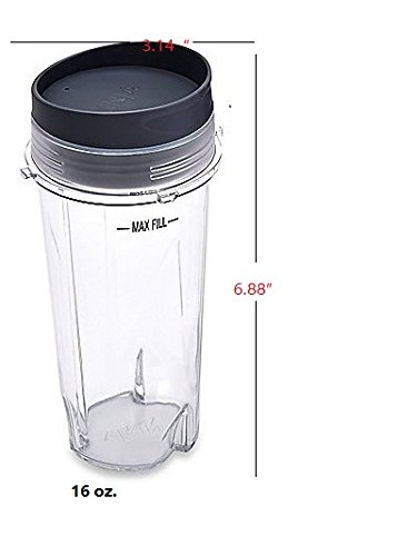 Sduck Replacement Parts for Nutri Ninja Blender, 16-Ounce (16 oz.)Single Serve Cup and To-Go lidFit for Ultima & Professional Nutri Ninja Series BL770 BL780 BL660 All Pro 4 Tab Blenders