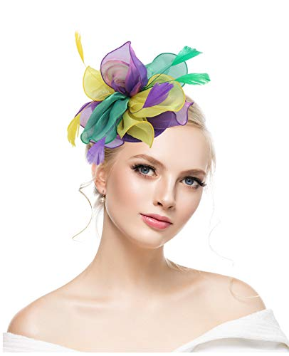 Fascinators Hat for Women Tea Party Headband Kentucky Derby Wedding Cocktail Flower Mesh Feathers Hair Clip for Mardi Gras