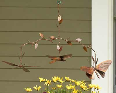 Ancient Graffiti Butterfly Branch Mobile, Flamed Copper