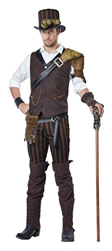 California Costumes Men's Steampunk Adventurer Costume, Brown, -