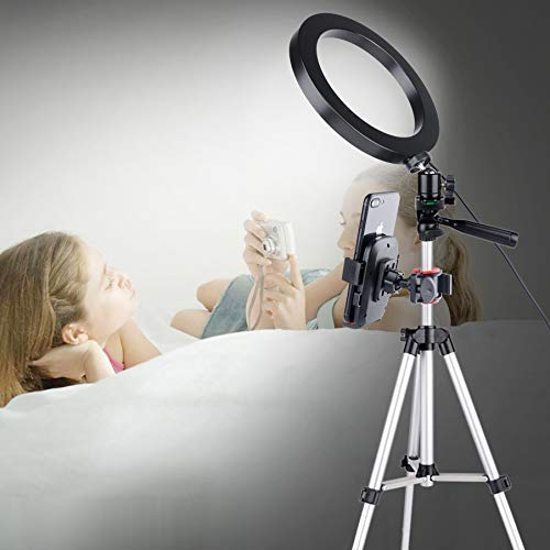 JaxTec 7.9 Ring Light with Tripod Stand for YouTube Video and Selfie//Makeup Mini LED Camera Flash Light with Cell Phone Holder Desktop Lamp 3 Light Modes /& 11 Brightness Level