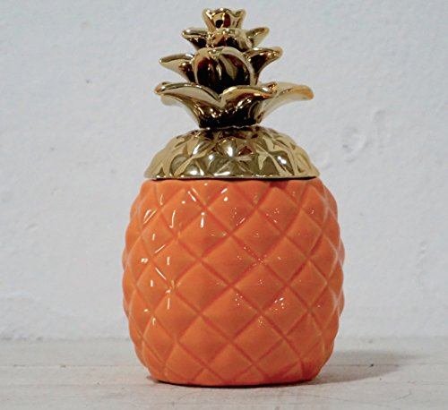 (Colorful Pineapple Shape Ceramic Container with Lid - Cookie Jar, Storage Container,Handcrafted Food Jar, with Aqua Gloss Gold Metallic Crown, Kitchenware Essentials (Orange))