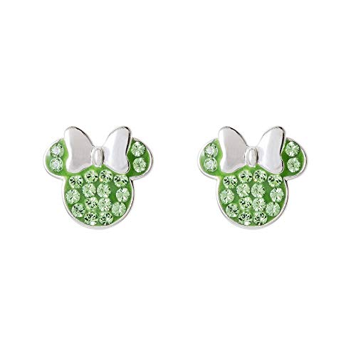 Disney Minnie Mouse Birthstone Sterling Silver Pave Crystal Stud Earrings (More Colors Available) Mickey's 90th Anniversary, August