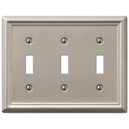 Brushed Nickel Switchplate Covers (Decorative Wall Switch Outlet Cover Plates (Brushed Nickel, Triple Toggle))