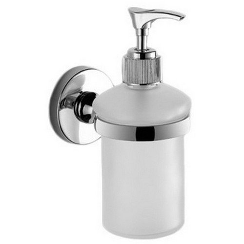 Gedy Felce Wall Mounted Rounded Frosted Glass Soap Dispenser With Mounting, Chrome