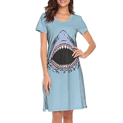 Cotton Short Sleeve Nightgowns Women's Great White Shark Bite Nightwear ()