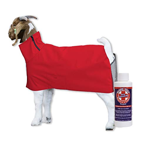 Show Pro Red Goat Blanket Mesh Butt for Show Goats - Livestock Supplies for Goat Cover. Free Ring Out Concentrate for Proven Ringworm & Fungus Prevention Included (Large)