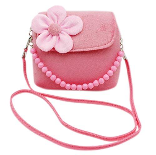 Bags us Little Girls Fashion Flower Crossbody Should Shoulder Bag Plush Handbag Mini Purse with Handle
