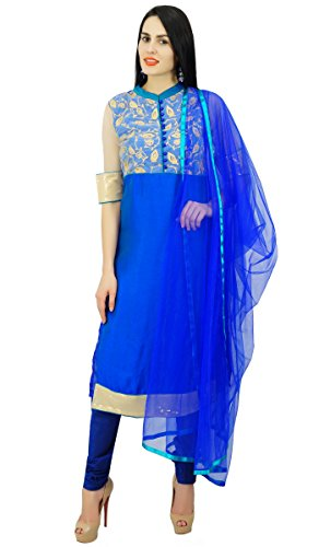 (Atasi Womens Straight Short Readymade Salwaar Kameez Mandarin Collar Kurti Royal Blue)