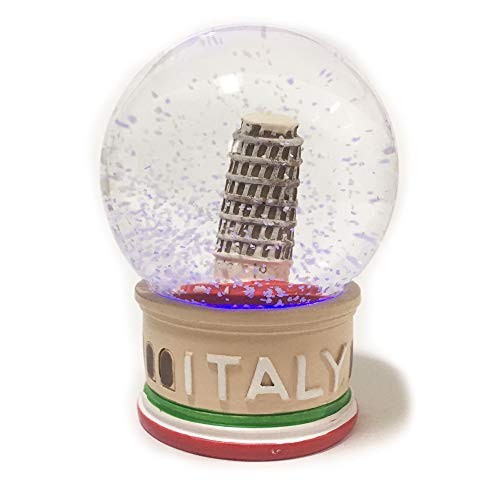 (Leaning Tower of Pisa Decor Snow Globe 4.5 inches Tall 75mm Water Globe Italy Souvenir Figurines with Lighted LED Light Up Dolls Miniature Replica Italy Landmark Famous Building with Flag Water Ball)