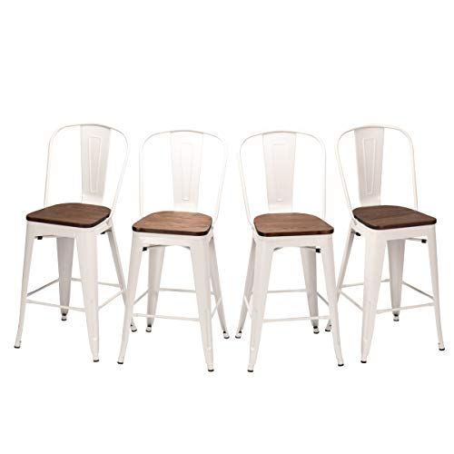HAOBO Home Metal Bar Stools Modern Industrial Counter Height Chair for Indoor/Outdoor Dining Chairs (30″, High Back White Wooden Seat)[Set of 4]