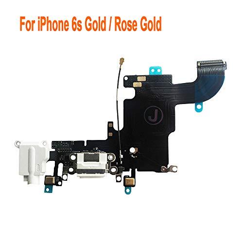 Johncase Charging Port Dock Connector Flex Cable w/Microphone + Headphone Audio Jack Port Ribbon Replacement Part Compatible iPhone 6s 4.7 (White)
